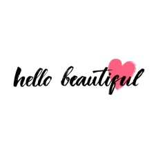 Hello beautiful - vector lettering with hand drawn heart. Calligraphy phrase for gift cards, baby birthday, scrapbooking. Typography art.
